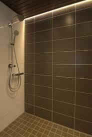 bathroom with ceramic tiles and waterproof shower lighting