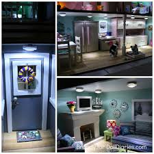 of course a great way to light up your dollhouse is to have it wired but this is super expensive a fabulous alternative is to use tap lights