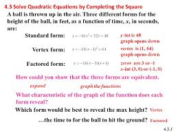 4 3 solve quadratic equations by completing the square