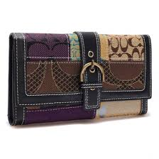 Coach Holiday Buckle In Signature Large Black Wallets 22884