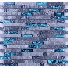 blue glass mosaic clear crystal gray marble backsplash random wave pattern kitchen wall tiles
