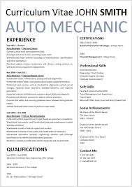 Cv Mechanic Auto Mechanic Curriculum Vitae