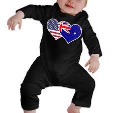 Amazon Com Lbjq8 American Australian Flag Heart Baby Girls