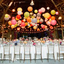 Barn weddings  a constellation of colorful paper lanterns ...