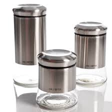kitchen storage mr coffee gear 3 piece glass canister set stainless steel