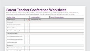 Homework Sheet Template For Teachers Printable Parent Teacher Conference Worksheet