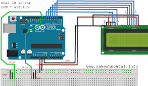 single and dual infrared ir sensor interface to lcd arduino circuit and schematics for dual ir sensor and lcd arduino uno