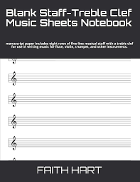 Blank Treble Clef Music Staff Blank Staff Treble Clef Music Sheets Notebook Manuscript