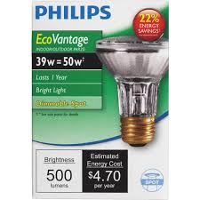 Philips Ecovantage Par20 Halogen Floodlight Light Bulb 419861