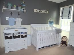 Baby Room:Stripes White And Gray Color For Nursery Designs Using Gray  Buffet Color With