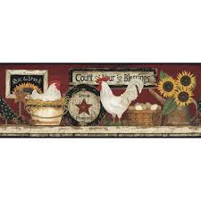 york wallcoverings hen and rooster wallpaper border