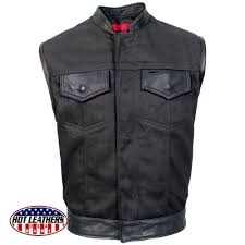 hot leathers usa made denim and leather vest with red lining
