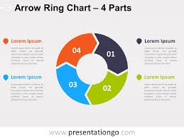4 Parts Arrow Ring Powerpoint Chart Presentationgo Com
