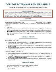 Internship Resume Templates Stunning College Resume Objective Example Resume Examples Objective