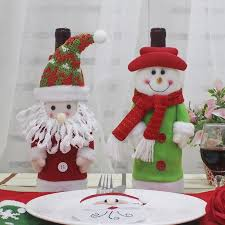 Creative 2Pcs <b>Santa</b> Claus and <b>Snowman Shape</b> Winebottle Covers ...