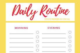 Daily Routine Chart Stay At Home Mum