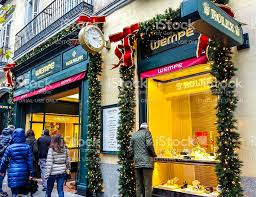 Decorations In Spain Christmas Decorations On Rolex Store In Madrid Spain Stock Photo