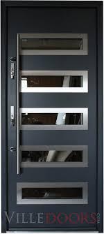 modern front door handlesTokyo  Stainless Steel Modern Entry Door in Grey Metallic