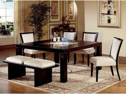 dining table bench dark wood full size benchoak furniture room black glossy wooden with white seat armless chairs and fl pattern rug seats rustic set