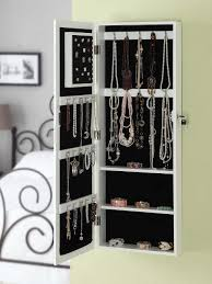 white wood wall mount jewelry armoire design with hookirror ideas