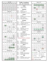 Year To Year Calendar School Year Calendar 2016 2017 Valley Academy