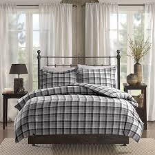 woolrich tasha grey printed cotton flannel duvet cover mini set