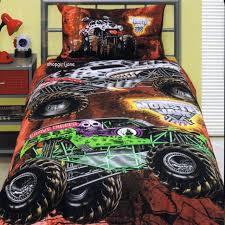 monster jam trucks grave digger mutt maximum d twin bed quilt cover set