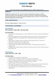 Sample Resume For Medical Office Manager Clinic Manager Resume Samples Qwikresume