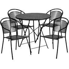 30 round black indoor outdoor steel folding patio table set with 4 round