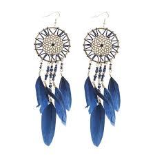 Dream Catcher Earing Blue Feather Dream Catcher Earrings 15
