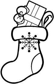 クリスマスプレゼントのための靴下のイラスト白黒 保育園幼稚園