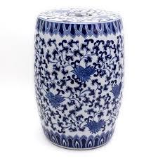 blue garden white lotus ceramic drum