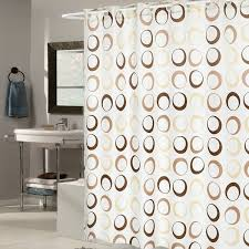 EZ On Brown Circles Fabric Shower Curtain with Built in Hanging