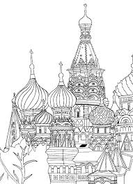 Print Saint Basil Cathedral Red Square Moscow Kleurplaat Coloring