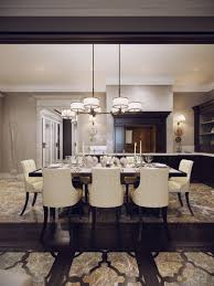 dining room cool decorating ideas using round whte chandeliers and round white fabric stacking chairs