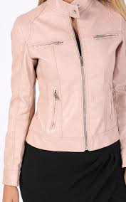 preview with zoom colynn faux leather biker jacket stand collar pink