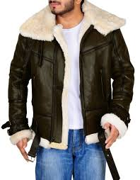 men aviator shearling sheepskin er flying real leather