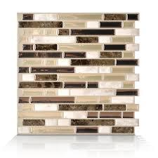 Kitchen Tile Backsplash Lowes Shop Smart Tiles White Beige Brown Linear Mosaic Composite Vinyl