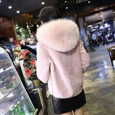 leather suede sheepskin coat women pink coat fox fur hood genuine sheepskin leather jacket fur one piece winter