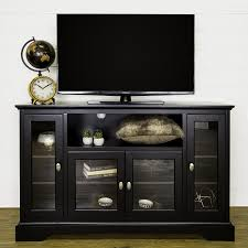 Tv Stand Black Amazoncom We Furniture 52 Wood Highboy Style Tall Tv Stand