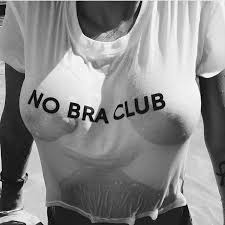 No Bra Club Lettera Stampata Delle Donne Crop Top Bianco Nero
