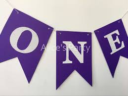 new silver one purple background high chair bunting banner flag baby 1st birthday party decorations violet nursery wall garlands in banners