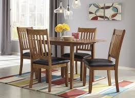 new round table albany joveen drop leaf table 4 uph side chairs