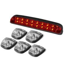Led Cab Lights For Ford Super Duty 5pcs Black Housing Blue Led Cab Roof Top Lights Red 3rd Brake Cargo Reverse Light