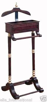 Valet Coat Rack Gentlemen's Clothes Valet Coat Pant Hanger Jewelry Box Mahogany New 28