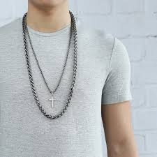 cross pendant necklace mens double chain stainless steel