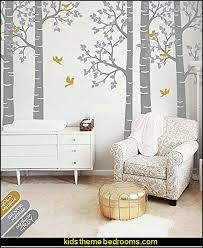 Large Five Birch Trees Nursery Wall Decal Sticker Large Wall Decoration For  Nursery Tree With Birds