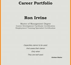 Sample Cover Page For Careertfolio Letter Professional College