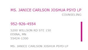 1235276791 NPI Number | JANICE CARLSON JOSHUA PSYD LP | EDINA, MN | NPI  Registry | Medical Coding Library | www.HIPAASpace.com © 2020