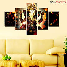 WallMantra Sri Ganesha Indian Hindu Spiritual <b>Painting</b> / <b>5</b> Pieces ...